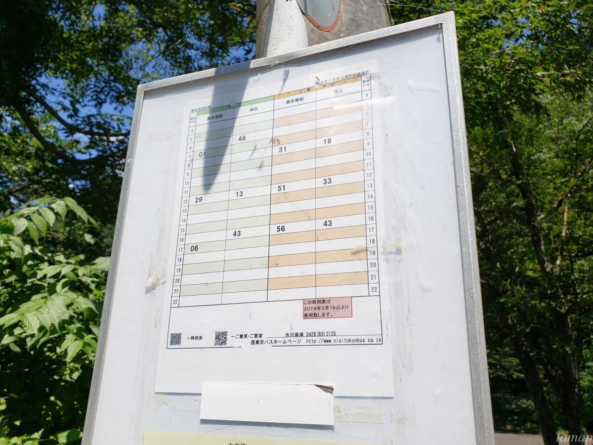 峰谷川渓流場のバス停