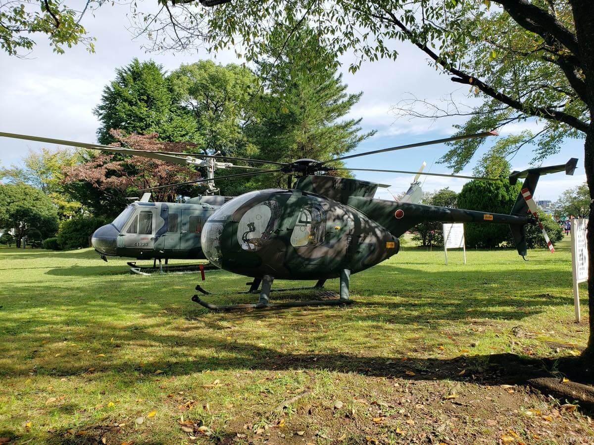 第96回箱根駅伝予選会の会場にあるヘリコプター