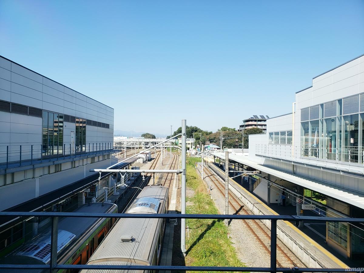 拝島駅の上からの眺め