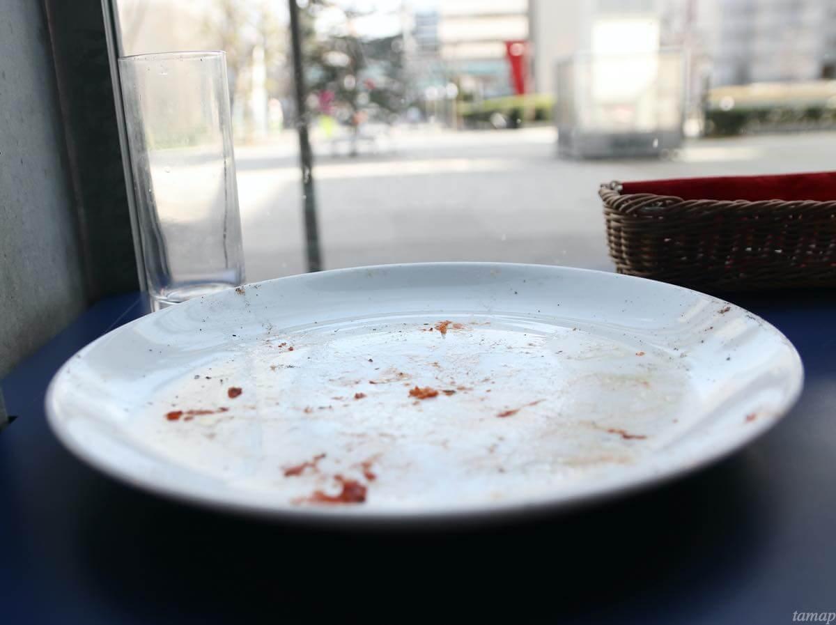 ピザを完食し終わったお皿