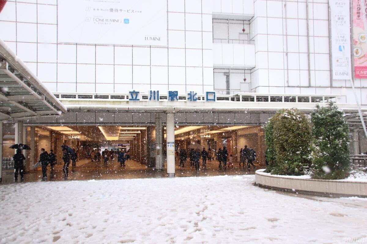 立川駅北口の雪
