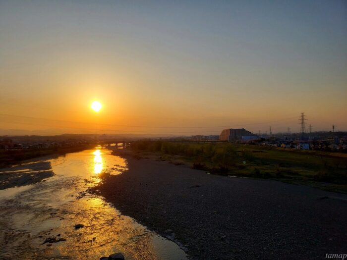 多摩川の夕陽